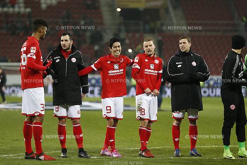 "Mainz team group (Mainz), FEBRUARY 11, 2017 - Football / Soccer : Mainz team group celebrate after winning German ""Bundesliga"" match between 1 FSV Mainz 05 2-0 FC Augsburg at the Opel Arena in Mainz, Germany. (Photo by Mutsu Kawamori/AFLO) [3604]"