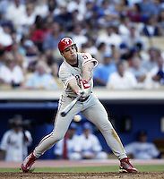 Pat Burrell of the Philadelphia Phillies bats during a 2002 MLB season game against the Los Angeles Dodgers at Dodger Stadium, in Los Angeles, California. (Larry Goren/Four Seam Images)