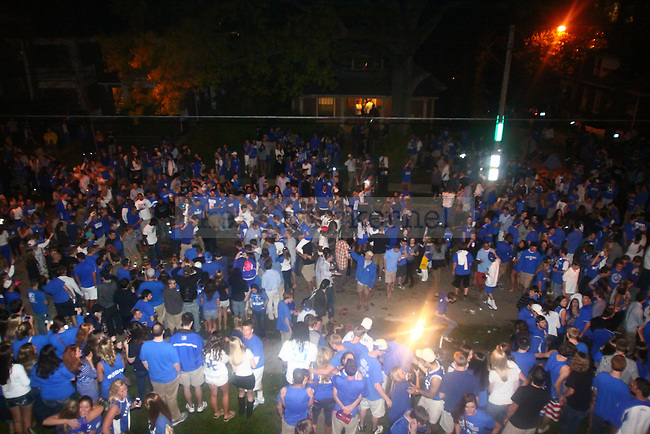 UK fans celebrate on State Street after UK defeated Louisville in the Final Four at the New Orlean's Superdome on Saturday, March 31, 2012. Photo by Scott Hannigan | Staff