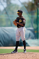 Pittsburgh Pirates relief pitcher Braham Rosario (2) gets ready to deliver a pitch during a Florida Instructional League game against the Detroit Tigers on October 2, 2018 at the Pirate City in Bradenton, Florida.  (Mike Janes/Four Seam Images)