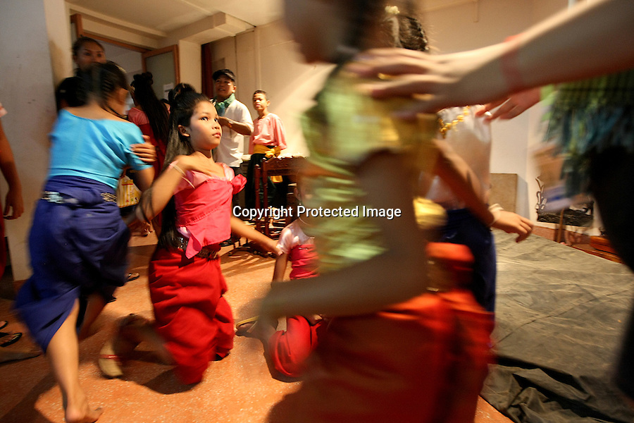 Cambodia Youth Arts Festival. Young artists are rushing from backstage to go on stage at the Chaktomuk theatre during the Cambodia Youth Arts Festival. Phnom Penh, Cambodia-2010
