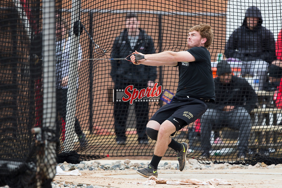 Kevin Barrett of the Wake Forest Demon Deacons competes in the men's hammer throw at the Wake Forest Open on March 20, 2015 in Winston-Salem, North Carolina.  (Brian Westerholt/Sports On Film)