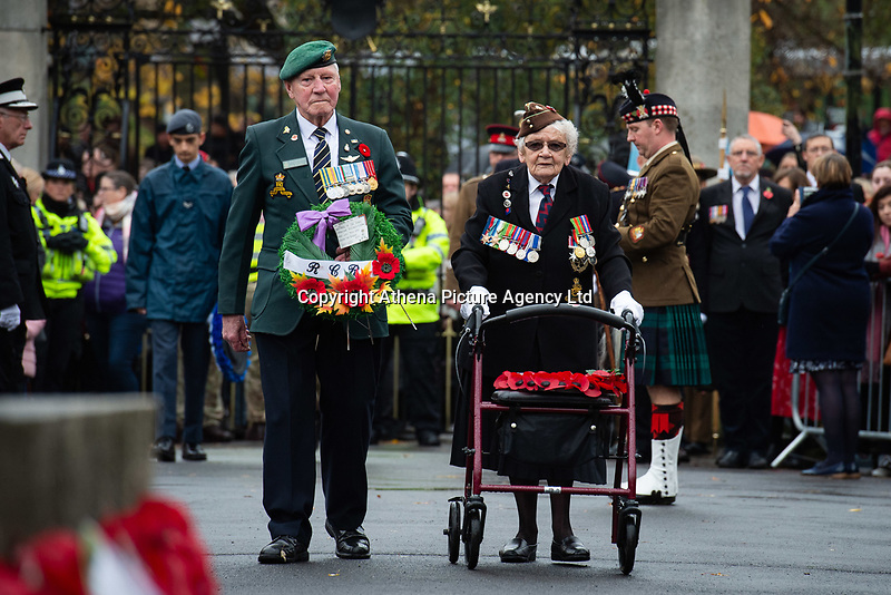 Pictured: Army veterans with wreaths. Sunday 11 November 2018<br /> Re: Commemoration for the 100 years since the end of the First World War on Remembrance Sunday at York Minster, England, UK