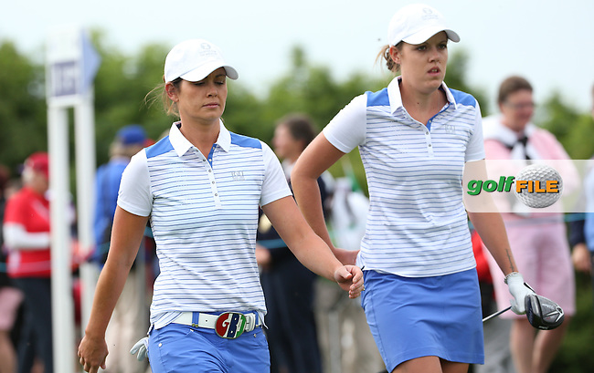 Meghan MacLaren and Maria Dunne head down the first during the Friday Foursomes at the 2016 Curtis Cup, played at Dun Laoghaire GC, Enniskerry, Co Wicklow, Ireland. 10/06/2016. Picture: David Lloyd | Golffile. <br /> <br /> All photo usage must display a mandatory copyright credit to &copy; Golffile | David Lloyd.