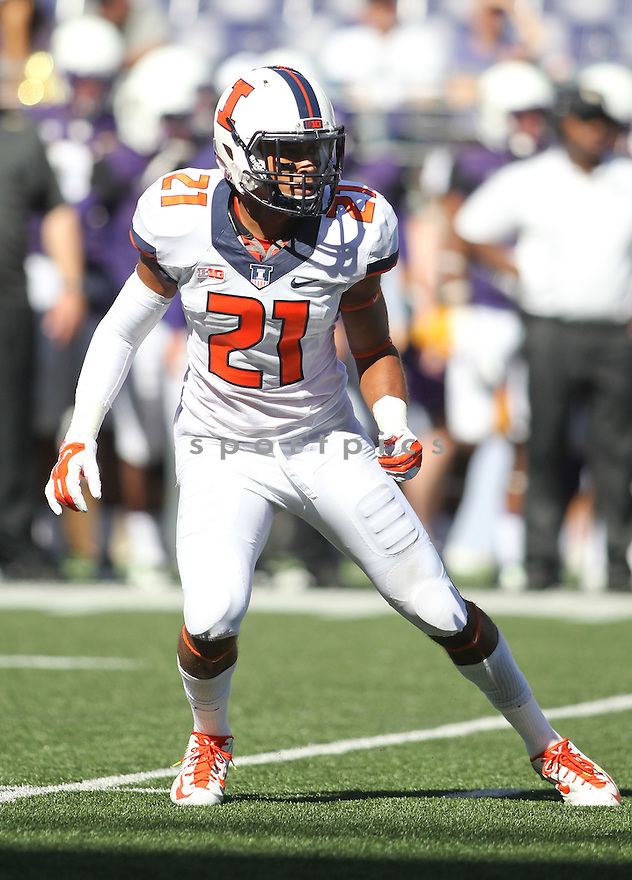 Illinois Illini Zane Petty (21) during a game against the Washington Huskies on September 13, 2014 at Husky Stadium in Seattle, WA. Washington beat Illinois 44-19.