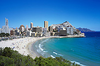 Spain, Costa Blanca, Benidorm: Summer beach scene