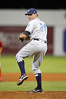 August 11, 2009:  Pitcher Gary Amato of the Vermont Lake Monsters delivers a pitch during a game at Dwyer Stadium in Batavia, NY.  The Lake Monsters are the Short-Season Class-A affiliate of the Washington Nationals.  Photo By Mike Janes/Four Seam Images