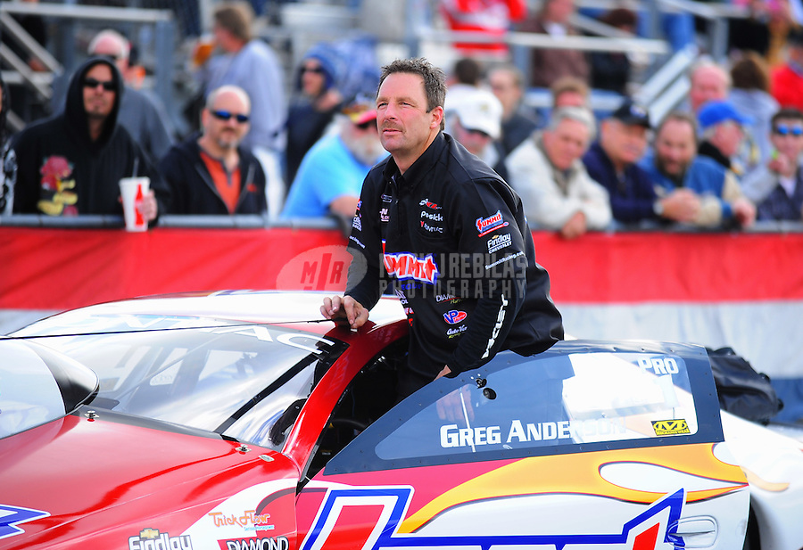 Feb. 24, 2011; Pomona, CA, USA;  NHRA pro stock driver Greg Anderson during qualifying for the Winternationals at Auto Club Raceway at Pomona. Mandatory Credit: Mark J. Rebilas-