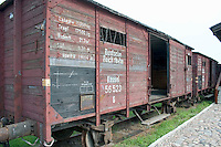 Radegast Station railcars where 200,000 Jews and gypsies rode to Auschwitz and other death camps.  Lodz Central Poland