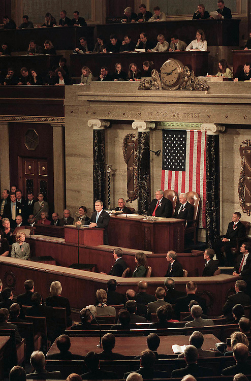 9/20/01.TERRORIST ATTACKS/PRESIDENT BUSH ADDRESS--President George W. Bush during his address..CONGRESSIONAL QUARTERLY PHOTO BY SCOTT J. FERRELL