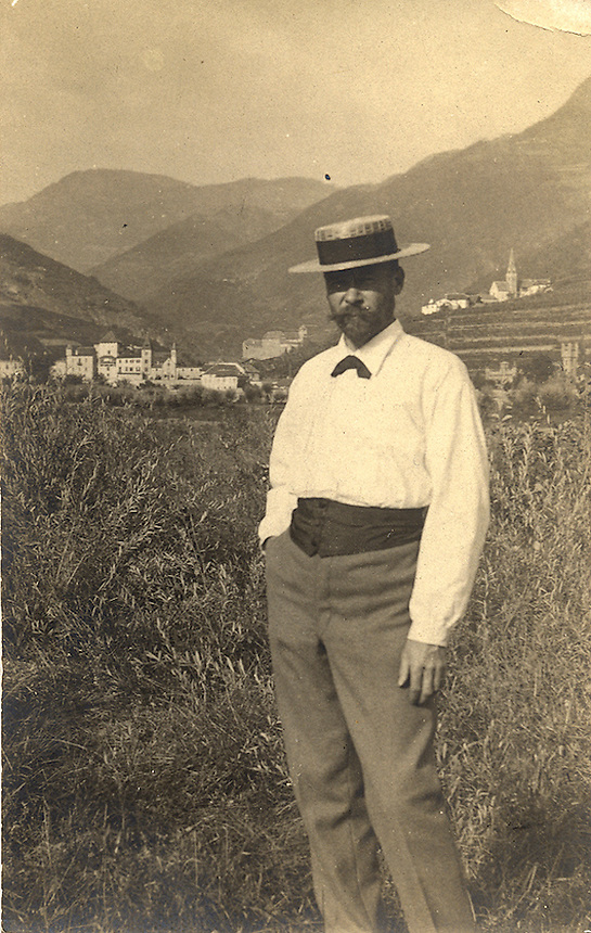 Title: Outdoor Photograph of S. H. Crone in straw hat<br />