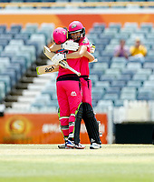 3rd November 2019; Western Australia Cricket Association Ground, Perth, Western Australia, Australia; Womens Big Bash League Cricket, Sydney Sixers verus Melbourne Stars; Ellis Perry of the Sydney Sixers hugs Alyssa Healy after she scored a hundred - Editorial Use