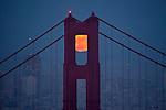 June full moon over Golden Gate Bridge taken from Hawk Hill, Marin Headlands....