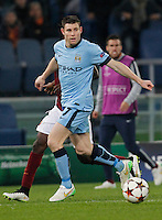 Manchester City's James Milner  during the Champions League Group E soccer match between As Roma and Manchester City  at the Olympic Stadium in Rome December 10 , 2014.