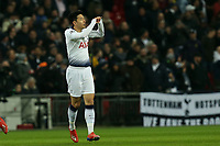 Son Heung-Min of Tottenham Hotspur celebrates scoring the first goal during Tottenham Hotspur vs Borussia Dortmund, UEFA Champions League Football at Wembley Stadium on 13th February 2019