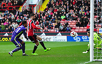 Sheffield United's Danny Lafferty scores his sides second goal <br /> <br /> Photographer Chris Vaughan/CameraSport<br /> <br /> The EFL Sky Bet League One - Sheffield United v Charlton Athletic - Saturday 18th March 2017 - Bramall Lane - Sheffield<br /> <br /> World Copyright &copy; 2017 CameraSport. All rights reserved. 43 Linden Ave. Countesthorpe. Leicester. England. LE8 5PG - Tel: +44 (0) 116 277 4147 - admin@camerasport.com - www.camerasport.com