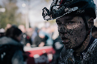 muddy post-race face<br /> <br /> U23 Men's race<br /> Superprestige Gavere / Belgium 2017