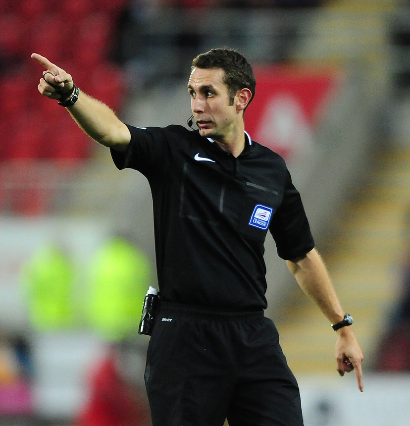 Referee David Coote<br /> <br /> Photographer Chris Vaughan/CameraSport<br /> <br /> Football - The Football League Sky Bet Championship - Rotherham United v Preston North End - Tuesday 18th August 2015 - New York Stadium - Rotherham<br /> <br /> &copy; CameraSport - 43 Linden Ave. Countesthorpe. Leicester. England. LE8 5PG - Tel: +44 (0) 116 277 4147 - admin@camerasport.com - www.camerasport.com