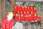 Mairead Joy Holy Cross NS, Killarney classmates celebrates after winning a trip for her whole class to Dublin Zoo after she won a national colouring competition