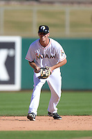 Glendale Desert Dogs shortstop Danny Black (11), of the Miami Marlins organization, during an Arizona Fall League game against the Mesa Solar Sox on October 8, 2013 at Camelback Ranch Stadium in Glendale, Arizona.  The game ended in an 8-8 tie after 11 innings.  (Mike Janes/Four Seam Images)