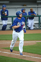 Kyle Garlick (17) of the Rancho Cucamonga Quakes runs to first base during a game against the Lake Elsinore Storm at LoanMart Field on April 10, 2016 in Rancho Cucamonga, California. Lake Elsinore defeated Rancho Cucamonga, 7-6. (Larry Goren/Four Seam Images)