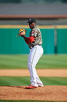 Arkansas Travelers relief pitcher Thyago Vieira (39) gets ready to deliver a pitch during a game against the Frisco RoughRiders on May 28, 2017 at Dickey-Stephens Park in Little Rock, Arkansas.  Arkansas defeated Frisco 17-3.  (Mike Janes/Four Seam Images)
