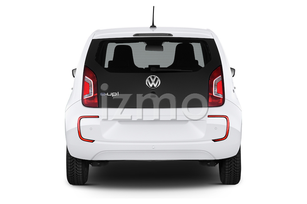 Straight rear view of a 2014 Volkswagen up! e-up! 5 Door Hatchback 2WD Rear View  stock images