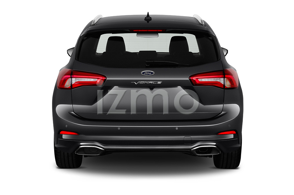 Straight rear view of a 2019 Ford Focus-Clipper Vignale 5 Door Wagon stock images