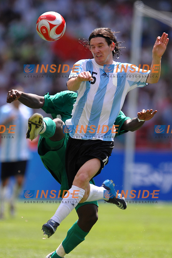Lionel Messi Argentina and Onyekachi Apam of Nigeria during the Olympic Games final. Argentina beats Nigeria 1-0 and won the gold medal .National Indoor - Bird Nest - Football - Calcio.Pechino - Beijing 23/8/2008 Olimpiadi 2008 Olympic Games.Foto Andrea Staccioli Insidefoto
