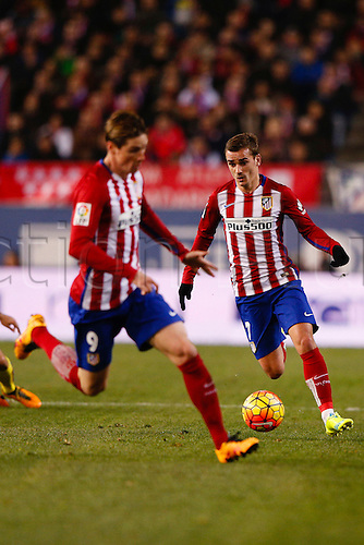 21.02.2016. Madrid, Spain.  Antonie Griezmann (7) Atletico de Madrid at the La Liga football match between Atletico de Madrid and Villerreal CF at the Vicente Calderon stadium in Madrid, Spain, February 21, 2016 .