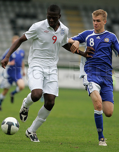 Frank Nouble of England (L) and Tuomas Rannankari of Finland (R) during football match of U19 UEFA European Championships Qualification tournament between England and Finland. Match between England and Finland was played in Murska Sobota, Slovenia, on 9th of October 2009. Photo: Primoz Jeroncic / PhotoSI/Actionplus