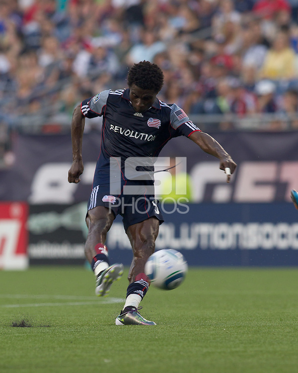 New England Revolution defender Emmanuel Osei (5) drives the ball on net. The Chicago Fire defeated the New England Revolution, 1-0, at Gillette Stadium on June 27, 2010.