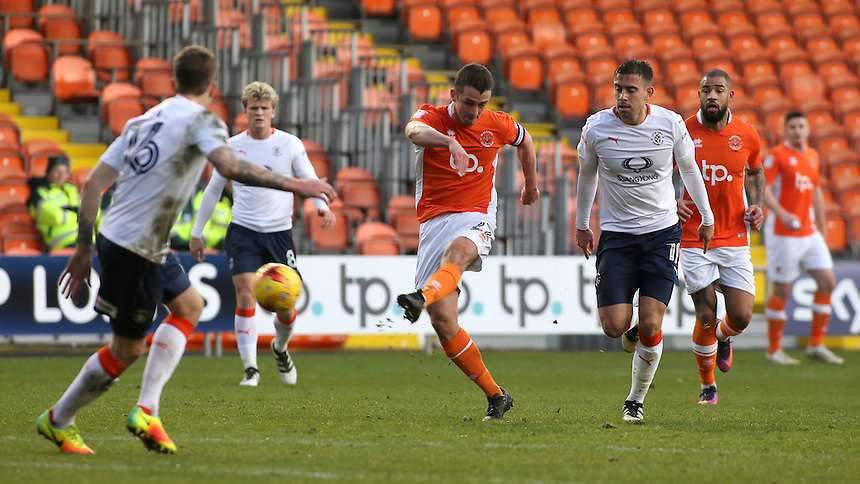 Blackpool's Danny Pugh gets a shot away during the first half<br /> <br /> Photographer David Shipman/CameraSport<br /> <br /> The EFL Sky Bet League Two - Blackpool v Luton Town - Saturday 17th December 2016 - Bloomfield Road - Blackpool<br /> <br /> World Copyright &copy; 2016 CameraSport. All rights reserved. 43 Linden Ave. Countesthorpe. Leicester. England. LE8 5PG - Tel: +44 (0) 116 277 4147 - admin@camerasport.com - www.camerasport.com