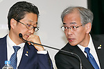 (L to R) Toyota Motor Corp. Executive Vice President Osamu Nagata and Senior managing officer Nobuhiko Murakami, speak during a news conference to present the company's financial results for the first half of its' 2017 financial year on November 7, 2017, Tokyo, Japan. Nagata reported 4,389,435 vehicle sales between April and September, an increase in 25,898 units compared to the same period in the previous fiscal year. Toyota's net revenues rose 8.6 percent to 14.191.2 trillion yen for the period whilst operative income decreased by 20.3 billion yen. (Photo by Rodrigo Reyes Marin/AFLO)