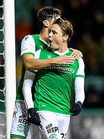 28th January 2020; Easter Road, Edinburgh, Scotland; Scottish Cup replay, Football, Hibernian versus Dundee United; Scott Allan of Hibernian celebrates his equaliser from the penalty spot to make it 1-1 in the 40th minute