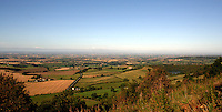 View of the countryside of the vale of York from the top of Sutton bank with lake Gomire on the right.North Yorkshire, England Sep 2007.