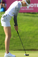 Nelly Korda (USA) putts on the 18th green during Thursday's Round 1 of The Evian Championship 2018, held at the Evian Resort Golf Club, Evian-les-Bains, France. 13th September 2018.<br /> Picture: Eoin Clarke | Golffile<br /> <br /> <br /> All photos usage must carry mandatory copyright credit (&copy; Golffile | Eoin Clarke)