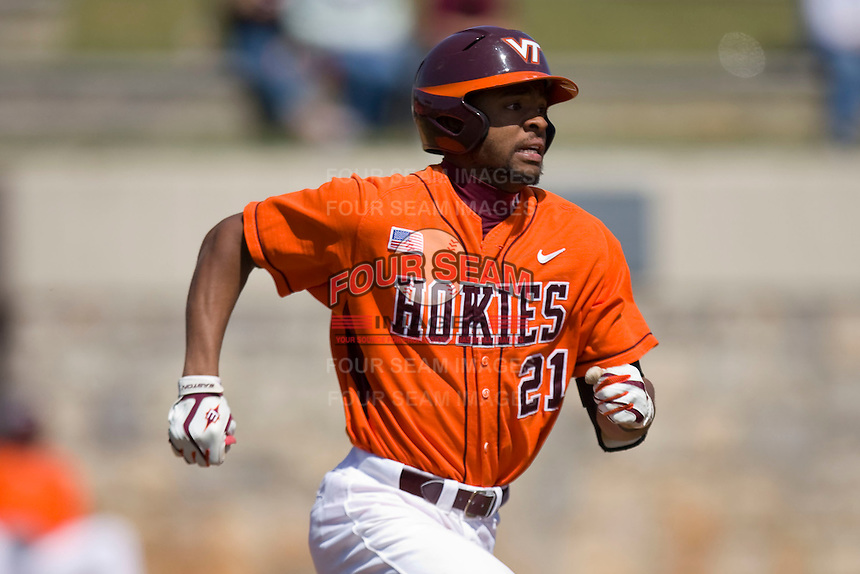 Austin Wates #21 of the Virginia Tech Hokies hustles down the first base line against the Wake Forest Demon Deacons at English Field March 27, 2010, in Blacksburg, Virginia.  Photo by Brian Westerholt / Four Seam Images
