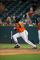 Bowie Baysox Anderson Feliz (20) at bat during an Eastern League game against the Richmond Flying Squirrels on August 15, 2019 at Prince George's Stadium in Bowie, Maryland.  Bowie defeated Richmond 4-3.  (Mike Janes/Four Seam Images)