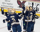 T.J. Tynan (ND - 18), Shayne Taker (ND - 3), Andy Ryan (ND - 6) - The Boston College Eagles defeated the visiting University of Notre Dame Fighting Irish 4-2 to tie their Hockey East quarterfinal matchup at one game each on Saturday, March 15, 2014, at Kelley Rink in Conte Forum in Chestnut Hill, Massachusetts.