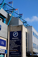 Storm Brian's high winds has flags billowing in the wind prior to the Sky Bet Championship match between Millwall and Birmingham City at The Den, London, England on 21 October 2017. Photo by Carlton Myrie.