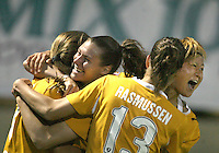 Ramona Bachmann #10 of the Atlanta Beat with Johanna Rasmussen #13, Tobin Heath #3 and Mami Yamaguchi #9 after she scored the Beat's goal during a WPS match against the Washington Freedom on April 18 2010, at the Maryland Soccerplex, in Boyds, Maryland.