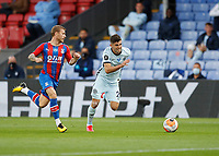 7th July 2020; Selhurst Park, London, England; English Premier League Football, Crystal Palace versus Chelsea; Max Meyer of Crystal Palace marking Christian Pulisic of Chelsea