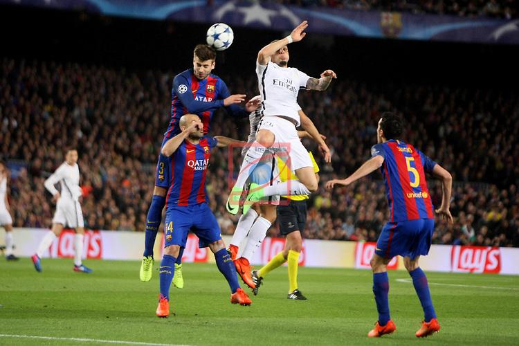 UEFA Champions League 2016/2017.<br /> Round of 16 2nd leg<br /> FC Barcelona vs Paris Saint-Germain: 6-1.<br /> Gerard Pique, Javier Mascherano &amp; Layvin Kurzawa.