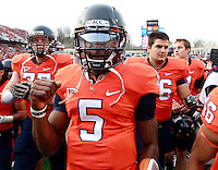 CHARLOTTESVILLE, VA- NOVEMBER 12: Quarterback David Watford #5 of the Virginia Cavaliers walks off the field before the game against the Virginia Tech Hokies on November 28, 2011 at Scott Stadium in Charlottesville, Virginia. Virginia Tech defeated Virginia 38-0. (Photo by Andrew Shurtleff/Getty Images) *** Local Caption *** David Watford