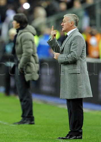 06.02.2013. Stade de France, Paris, France.  France's coach Didier Deschamps gestures during the international friendly soccer match France verus  Germany at the Stade de France in Paris, France, 06 February 2013. Germany won the game by a score of 1-2.