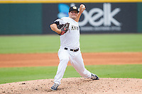 Charlotte Knights relief pitcher Jarrett Casey (24) in action against the Pawtucket Red Sox at BB&T Ballpark on August 8, 2014 in Charlotte, North Carolina.  The Red Sox defeated the Knights  11-8.  (Brian Westerholt/Four Seam Images)