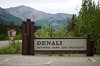 June 7, 2011, Denali National Park and Preserve entrance sign, with view of Mount Healy in background, Denali National Park and Preserve, Alaska, United States.