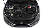 Car Stock 2019 Honda Civic-Sedan Touring 4 Door Sedan Engine  high angle detail view