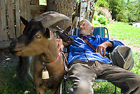 Toesens, Tiroler Oberland, Austria, August 2009. An old man sleeps while his 3 goats graze next to the Inn River. Photo by Frits Meyst/Adventure4ever.com